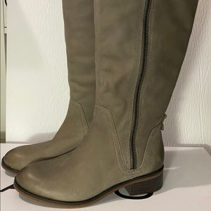 Aldo Gray/Taupe Leather Knee High Boots